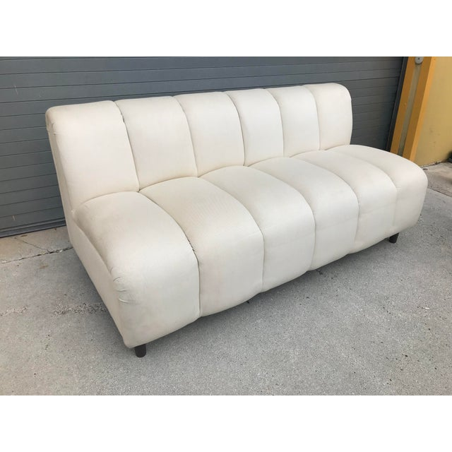 Bernhardt Flair Mid-Century White Ribbed Sofa - Image 3 of 5