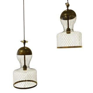 Industrial Pair of Mesh Covered Light Fixtures, Italy, Contemporary Design