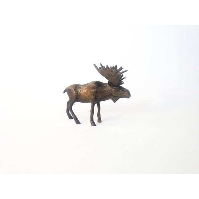 Vintage Brass Moose Statue - Image 2 of 5