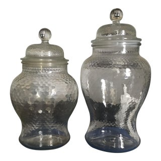 Set of 2 Vintage Glass Fillable Ginger Jars