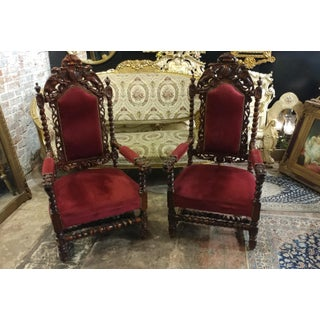 19th c. French Griffin & Dragon Oak Chairs -Barley Twist & Red Velvet Upholstery-Pair