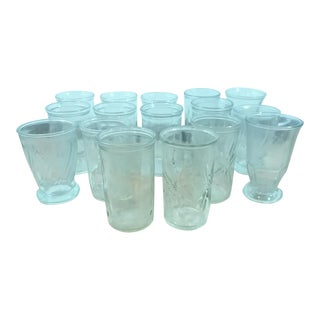 Vintage Clear Glass Jelly Jars - Set of 16
