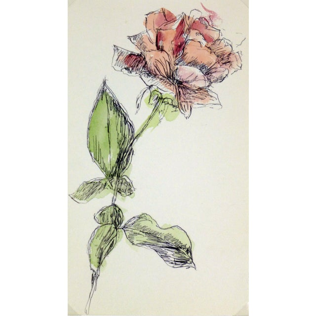 Vintage Watercolor Painting, Rose Stem - Image 1 of 3