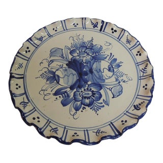 Vintage Italian Blue and White Round Ceramic Plate
