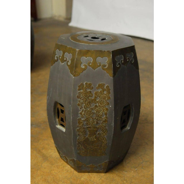 Chinese Pewter And Brass Drum Stools - Pair - Image 4 of 5