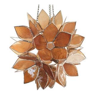 Handmade Capiz Shell Lotus Flower Hanging Lantern