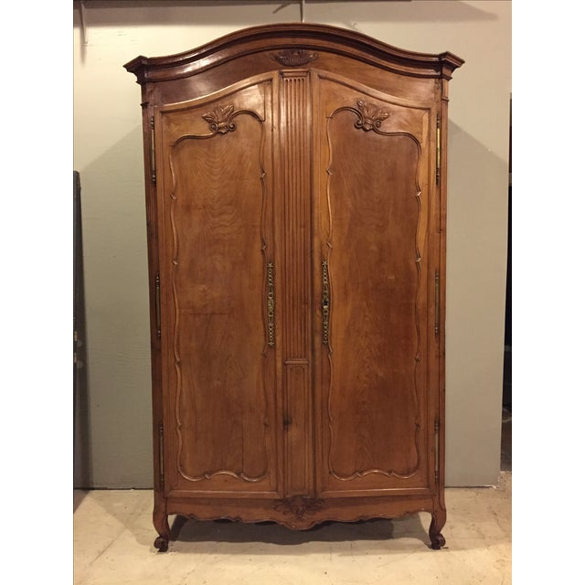 antique louis xv carved cherry armoire wardrobe chairish. Black Bedroom Furniture Sets. Home Design Ideas