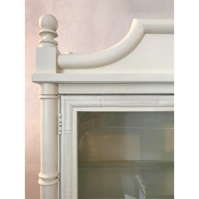 Chinoiserie Faux Bamboo Painted China Cabinet - Image 4 of 10