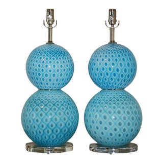 Galliano Ferro Murano Ball Lamps Peacock Design
