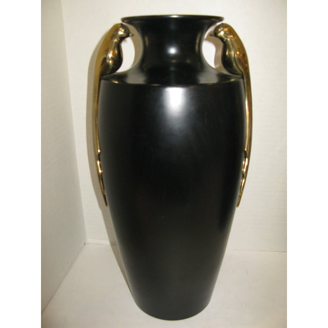 Black & Brass Art Deco Metal Vases - A Pair - Image 6 of 11