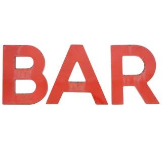 """Vintage Red Porcelain Letters Spelling """"BAR"""""""