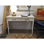 Image of Vintage White Painted Faux Bamboo Desk