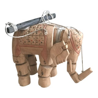 Painted Wooden Elephant Marionette