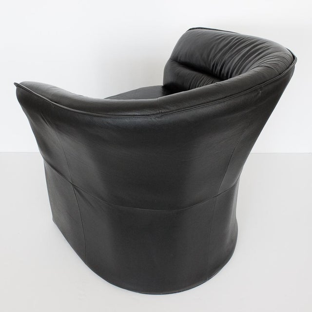 Modern Black Faux Leather Armchair - Image 7 of 10