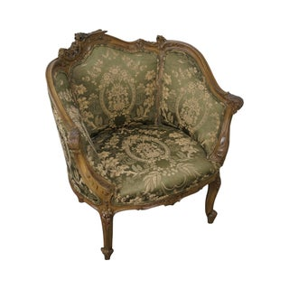 Vintage 1940s Carved French Louis XV Style Bergere Chair