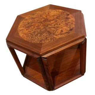 Brown Saltman Hexagon Burled End Table