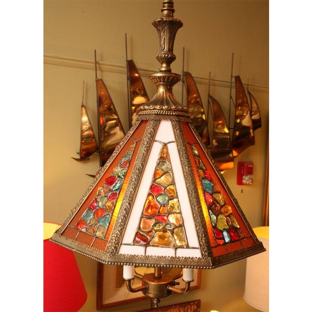 Regency Style Chandelier with Brutal Stained Glass - Image 2 of 6
