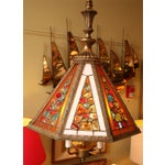 Image of Regency Style Chandelier with Brutal Stained Glass