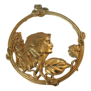 Art Nouveau Brass Woman Trivet Wall Display