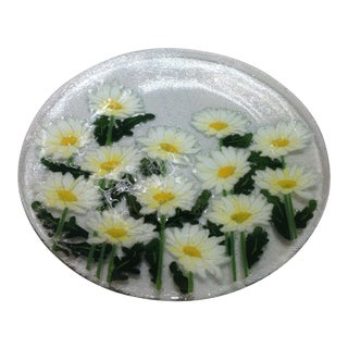 Hand-Crafted Fused Glass Daisy Platter