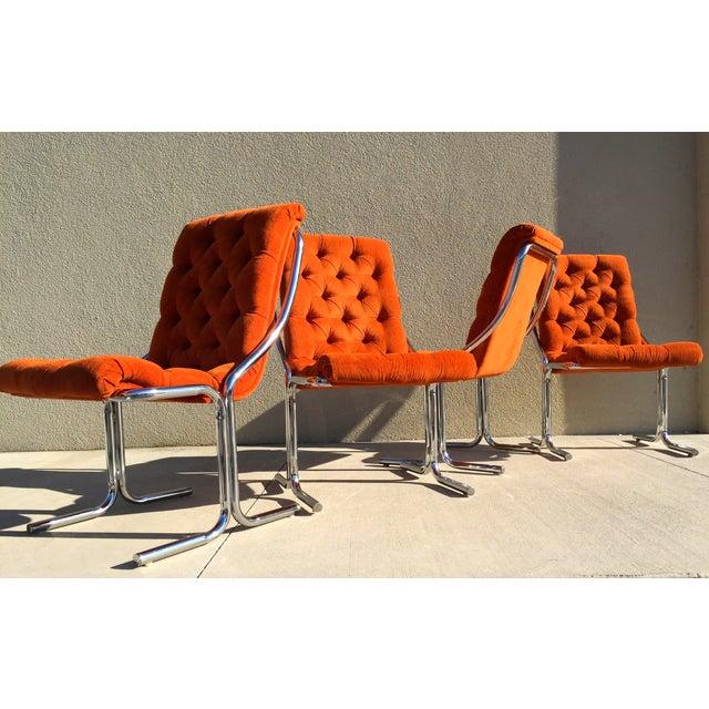Orange Tufted Velvet Amp Chrome Dining Chairs Chairish