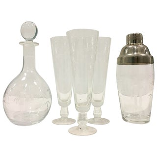Mid-Century Japanese Etched Crystal Bamboo Drinks - Set of 7