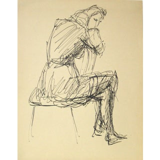 Jennings Tofel Vintage Woman in Chair Ink Drawing