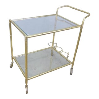 Vintage French Brass Faux Bamboo Bar Cart