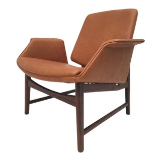 Very Rare Hans Olsen Rosewood and Leather Lounge Chair, Denmark, 1950s