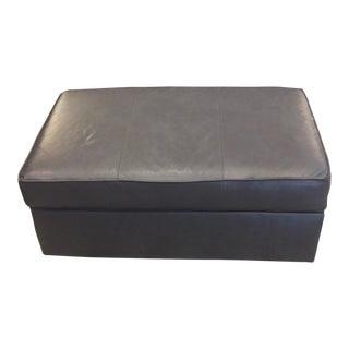 England Furniture Company Dark Grey Leather Ottoman With Storage
