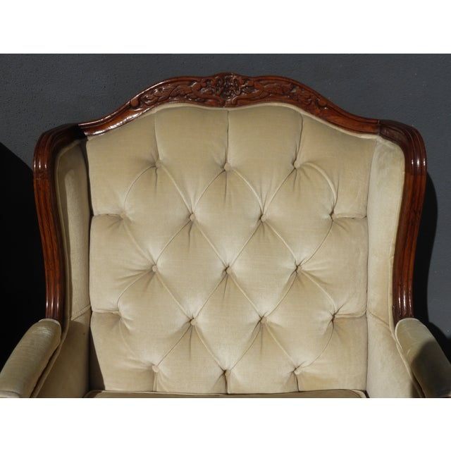 Pair of Bernhardt Tufted Wing Back Velvet Chairs - Image 9 of 11
