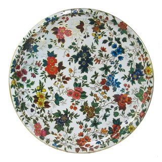 Vintage English Daher Floral Tray