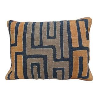 Black, Brown & Orange African Cloth Kuba Pillow