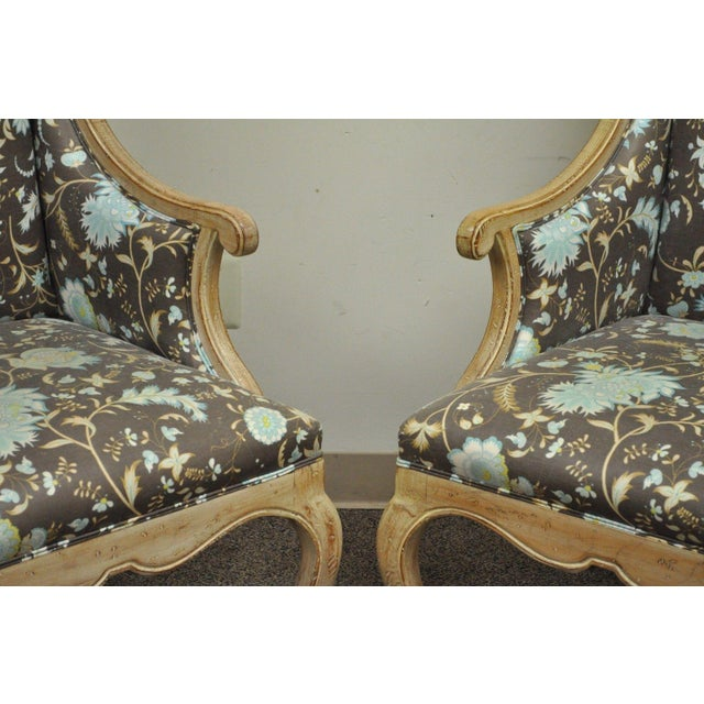 Hollywood Regency French Country Carved Wingback Chairs - A Pair - Image 2 of 11