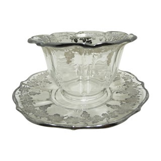 Vintage Silver Overlay Glass Bowl with Underplate