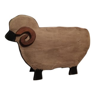 Wooden Sheep With Horns Box - Country Farmhouse Storage Decor