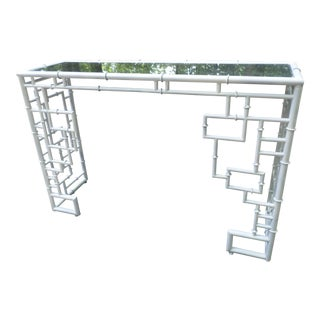 Hollywood Regency Style Faux Bamboo & Aged Mirrored Console
