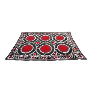 Vintage Red and Black Bukhara Suzani Tapestry