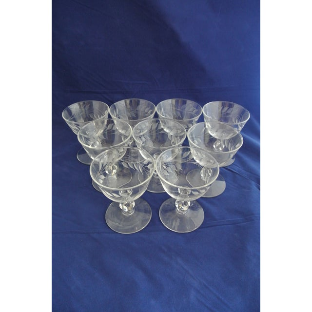 Antique Etched Crystal Champagne Coupes - Set of 9 - Image 8 of 11