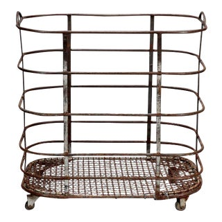 French Industrial Metal Trolley on Casters