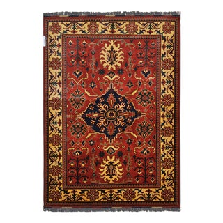 "Traditional Bokhara Floral Design Hand Knotted Wool Area Rug - 5'3"" X 7'3"""