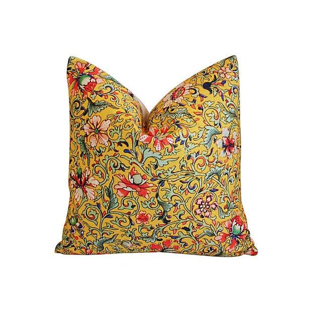 Colorful Asian Floral Linen Pillows - a Pair - Image 2 of 7