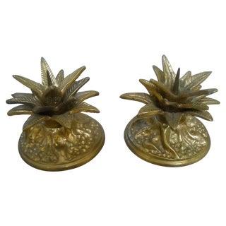 Vintage Maitland Smith Cast Bronze Candles - Pair