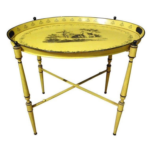 Italian Neoclassical Style Tole Tray Table - Image 7 of 7