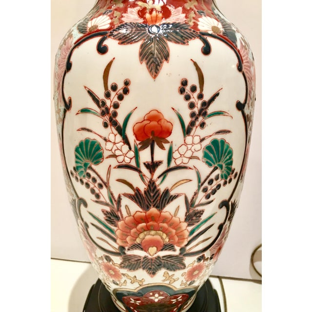 Hand-Painted Porcelain Imari Vase Table Lamps - A Pair - Image 9 of 10