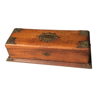 Antique Wood Box With Brass Mounts
