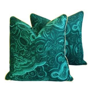 "24"" Square Custom Tony Duquette-Style Jim Thompson Malachite Pillows - Pair"