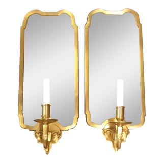 Hollywood Regency Style Mirrored Sconces - Pair