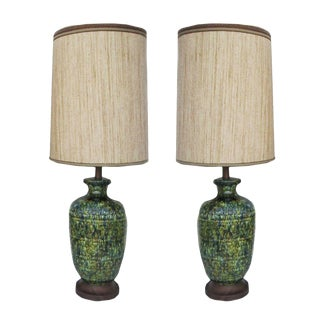 Mid-Century Modern Glazed Ceramic Lamps - A Pair
