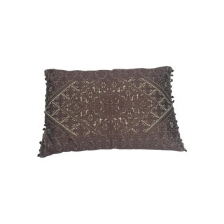 Amelia Brown Silk Embroidered Pillow
